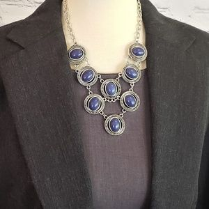 NWT Blue/Silver Statement Necklace